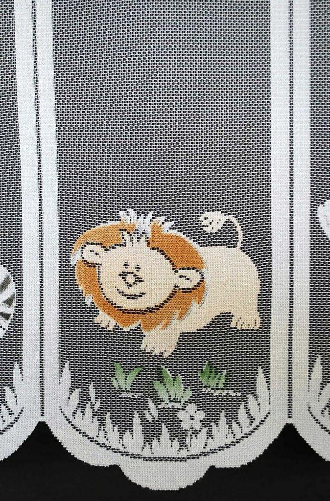 Rideaux Brise-bise Animaux Zoo Enfants 60 cm de Haut Colour: Blanc color/é Rideaux Cuisine Vous Pouvez Choisir la Largeur des Rideaux par paliers de 17 cm