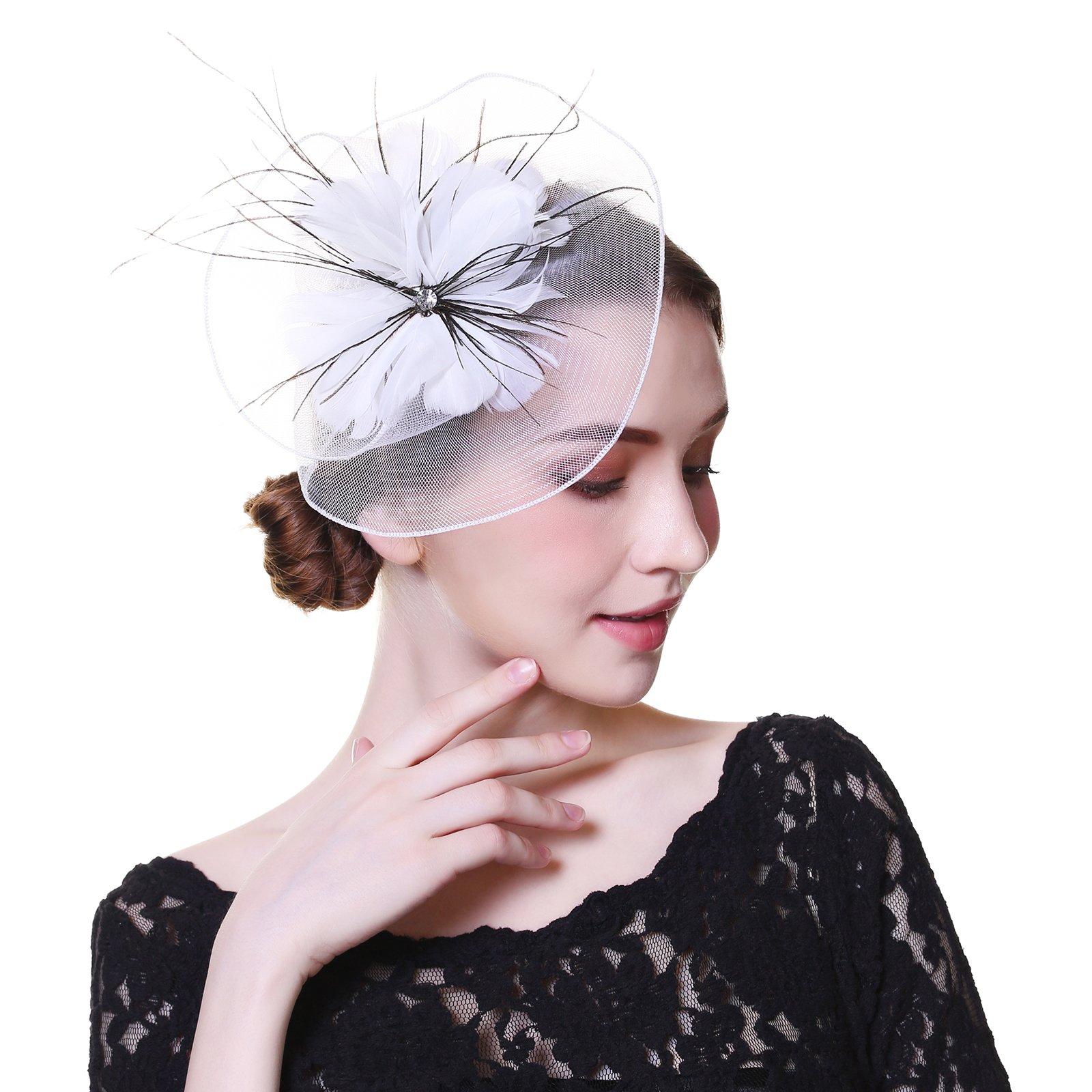 Fascinator Hat Mesh Flower Headwear – AWAYTR Feathers on The Top Woman Mesh Derby Church Cap