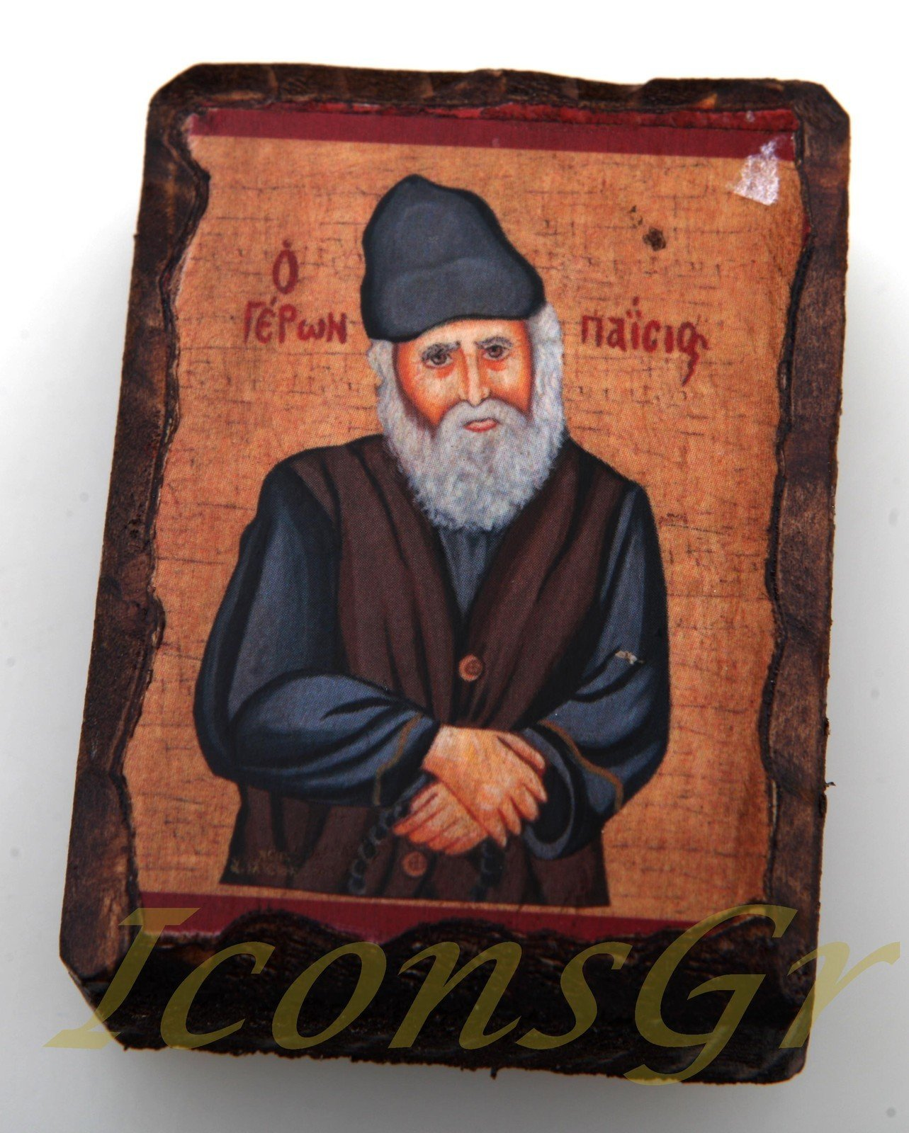 Wooden Greek Christian Orthodox Small Lithography Wood Icon A6_1