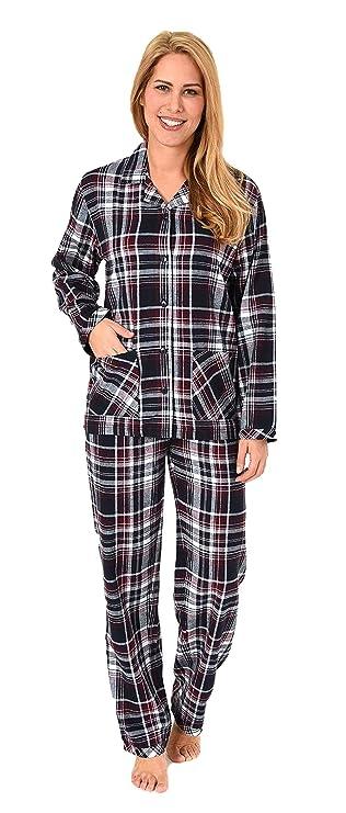 NORMANN WÄSCHEFABRIK Damen Flanell Pyjama Schlafanzug kariert –- auch in Übergrössen - 281 201 95 247