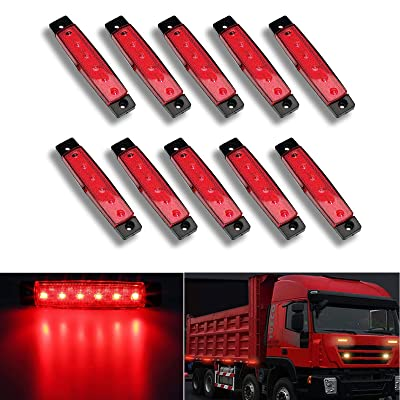 "NBWDY 10pc 3.8"" 6 LED Red Side Marker Lights, Red Trailer Marker Lights, Rear Side Marker Lamp Amber, Led Marker Lights for Trucks, Cab Marker, RV Marker light Red: Automotive"