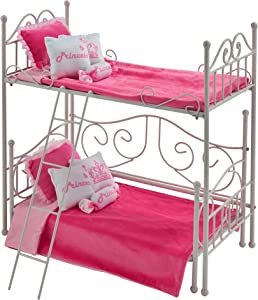 Badger Basket Metal Doll Loft Bed with Daybed and Bedding for 18 inch Dolls - White/Pink (60003)