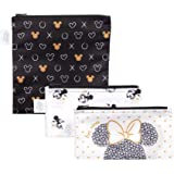 Bumkins Disney Sandwich Bags/Snack Bags, Reusable, Washable, Food Safe, BPA Free, Pack of 3 - Love, Minnie