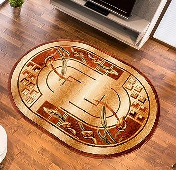 Teppich Wohnzimmer Oval In Beige Kurzflor Muster Natur Antik Royal Kollektion Qualitat 70 X 140 Cm