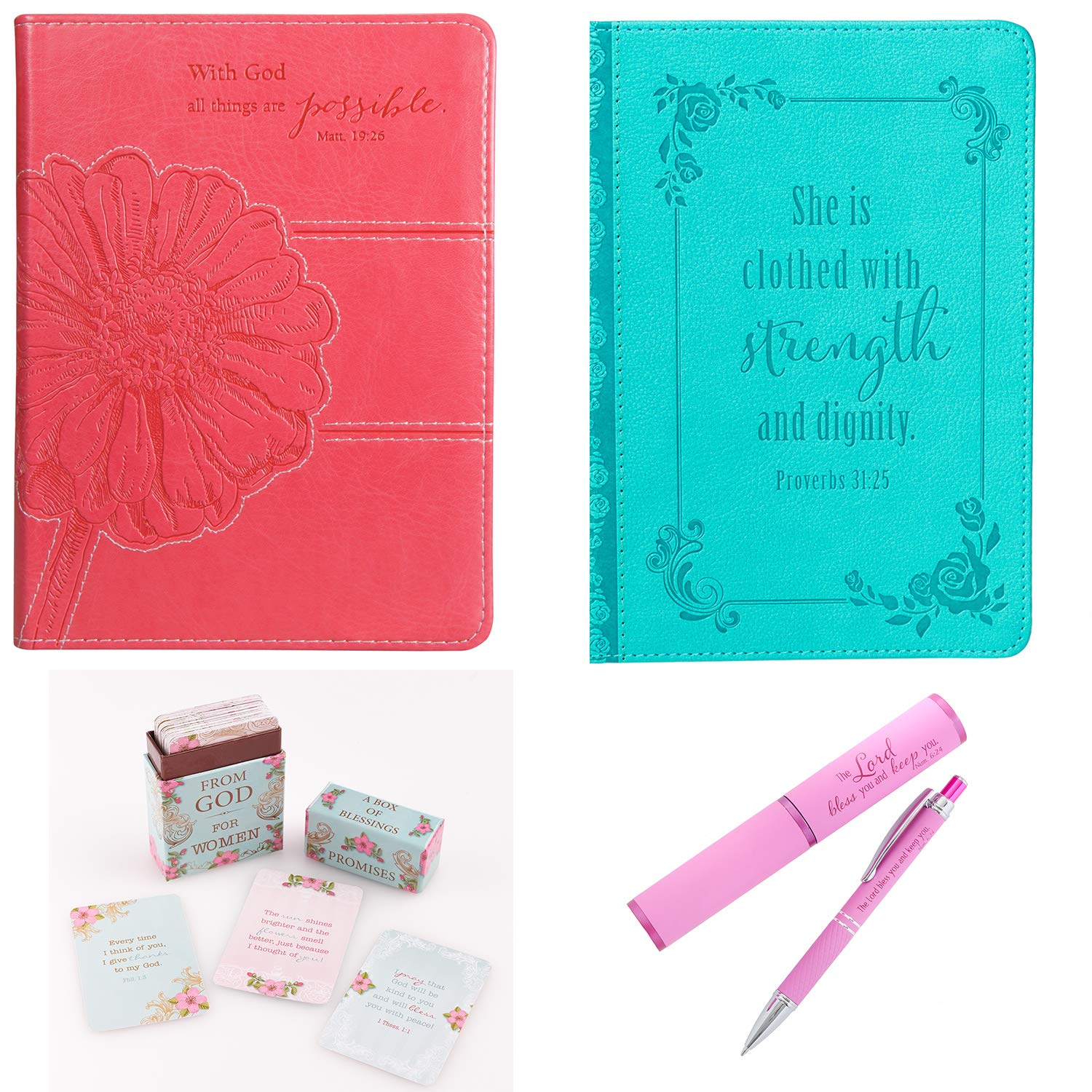Christian Daily Prayer Journals with Promises from God Box of Blessings and Gift Pen