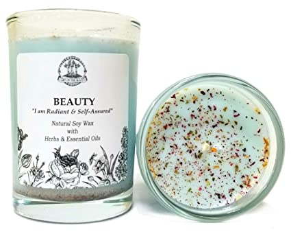 Art of the Root Beauty Affirmation Candle: 8 oz Natural Soy with Herbs &  Essential Oils for Radiance, Confidence, Charisma, Empowerment &  Self-Esteem