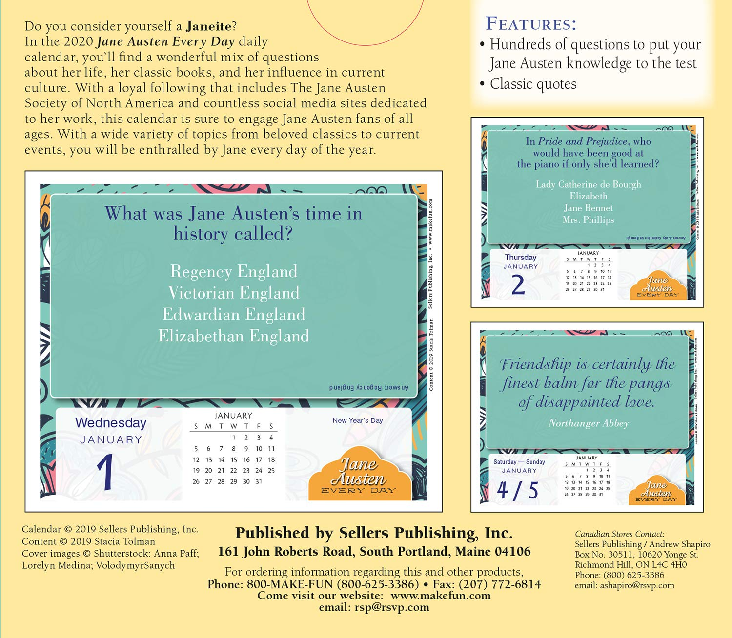2020 Jane Austen Every Day a Year of Jane Trivia and Classic Quotes Boxed Daily Calendar: by Sellers Publishing