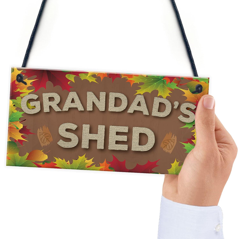 RED OCEAN Grandads Shed Man Cave Workshop Garden Tool Shed Hanging Plaque Home Gift Sign