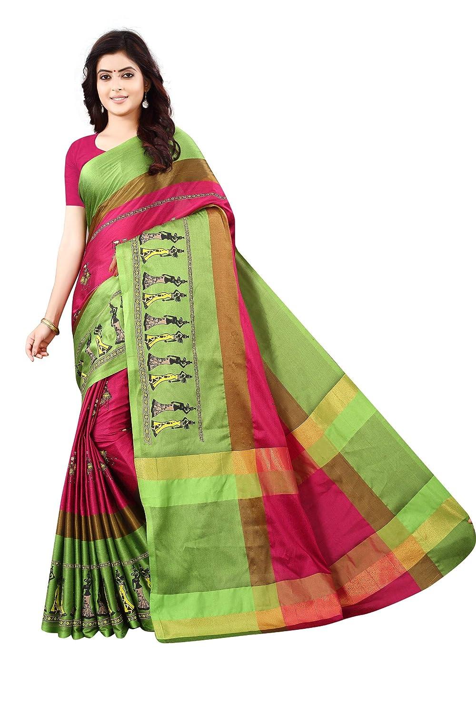 70fb2e56d51653 Shree Ram Krishna Women's Tussar silk Foil Print Saree With Blouse Piece(Blue  & Green,Free Size): Amazon.in: Clothing & Accessories