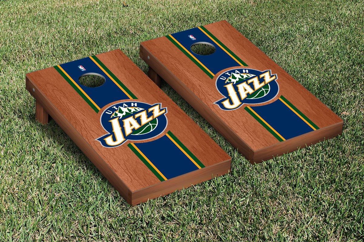 Utah Jazz NBA Basketball Cornhole Game Set Rosewood Stained Stripe Version