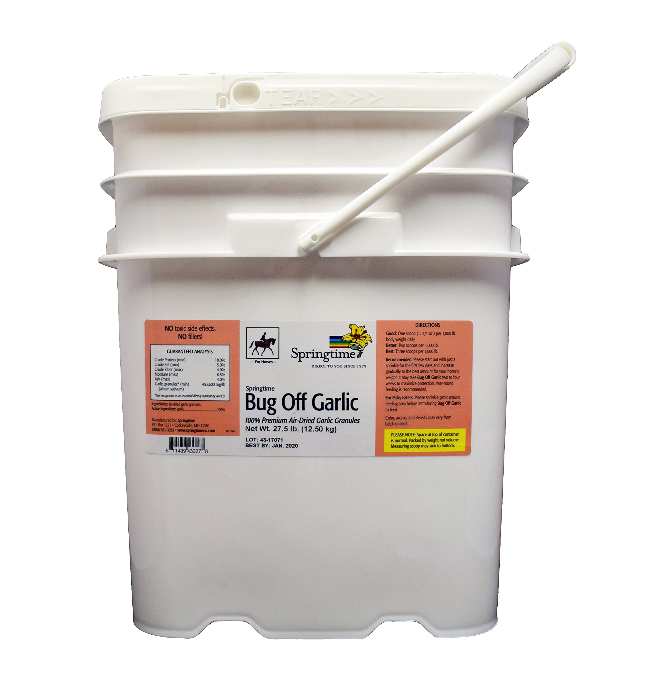 Springtime Bug Off Garlic for Horses - 27.5 lb. - Air-dried garlic granules provide a safe, 24-hour shield against flies, ticks, mosquitoes, gnats, and other biting insects