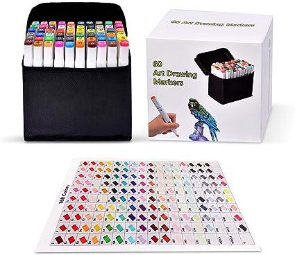 Pachock 60 color Arte Dibujo Marcadores de Punta Doble - Doble Cara Marcadores del Bosquejo del Rotulador: Amazon.es: Oficina y papelería