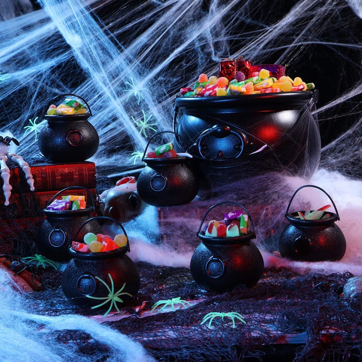 Hakka Juego de 9 Calderos Port/átil Cubo de Caramelo con Mango Negro Caldero de Bruja para Caramelos Dulces de Fiestas Halloween Decoracion