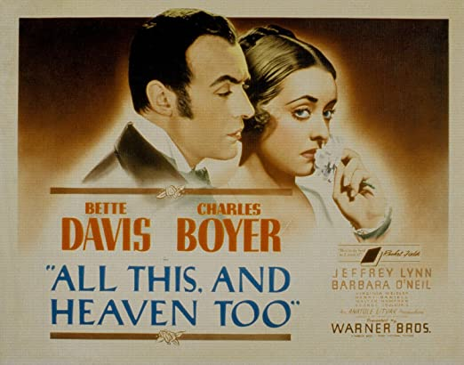 All this and Heaven too Bette Davis movie poster print