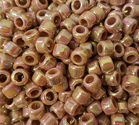 9 x 6mm Sparkle Plastic Barrel *3 FOR 2* COPPER PEARL PONY BEADS