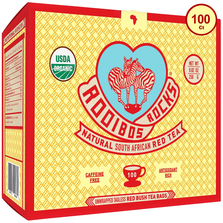 Rooibos Tea Organic Tagless Teabags - 100 South African Red Bush Herbal Tea Bags, By Rooibos Rocks (100ct) by Rooibos Rocks (Image #1)