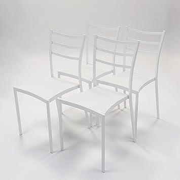 Homely - Pack de 4 Sillas de Cocina HONG KONG. Metal y asiento de ...