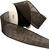 Morex Ribbon Burlap Wired Ribbon, 2-1/2-Inch by 10-Yard Spool, Black
