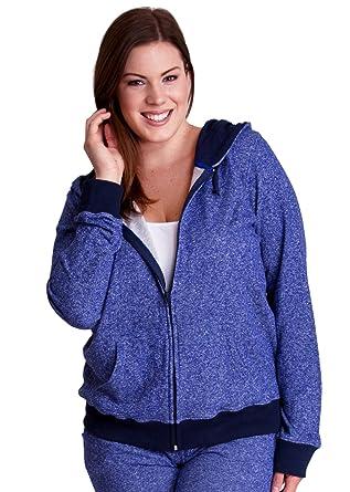 f842261d04e Violet Blue Woman Plus Size Textured Knit Print Front Zipper Pocket Hoodie