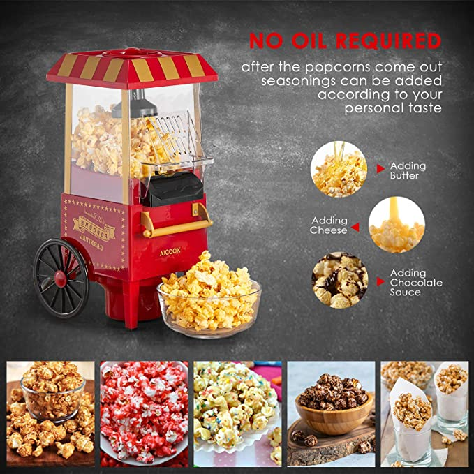 Amazon.com: Aicook Hot Air Popcorn Popper Maker with Measuring Cup, No Oil Needed, FDA and ETL Approved, Red: Kitchen & Dining