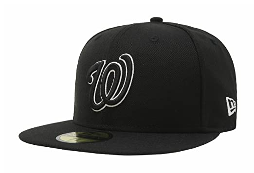 New Era 59Fifty Mens Hat Washington Nationals Black/White Fitted Headwear Cap ...