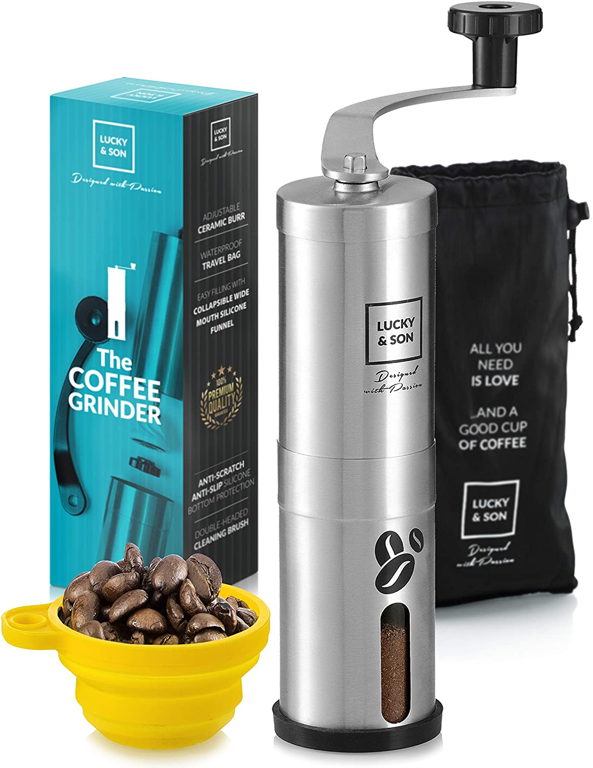 Portable Mini Burr Grinder Mill for Travel LUCKY /& SON Manual Coffee Grinder Hand Crank Conical Coffee Bean Grinder with Adjustable Ceramic Burr Best Coarse Grind for French Press