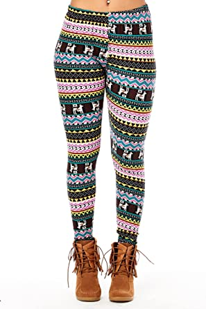 womens ladies comfy holiday christmas ugly santa leggings pants xmas one size reindeer