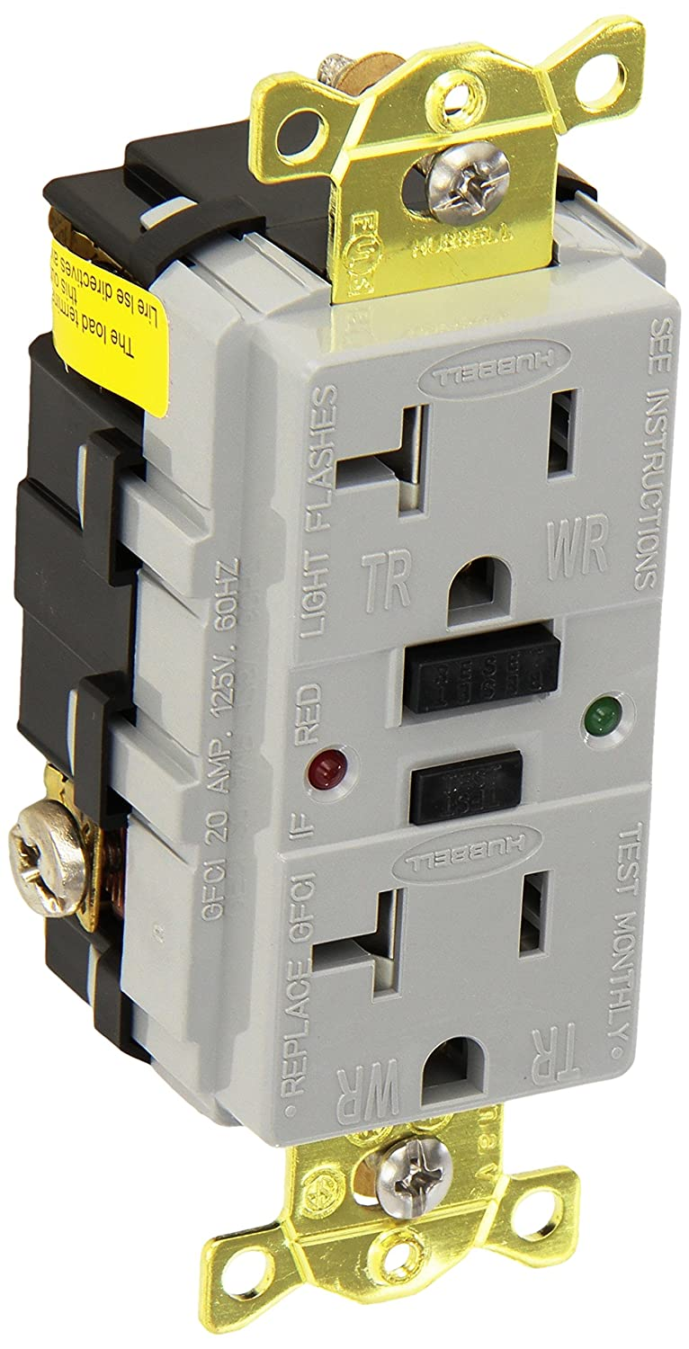 Hubbell Gfr5362sggy Industrial Grade Tamper Resistant Gfci 20 Amp Circuit Breaker Wiring Schematic 125v Gray Scientific