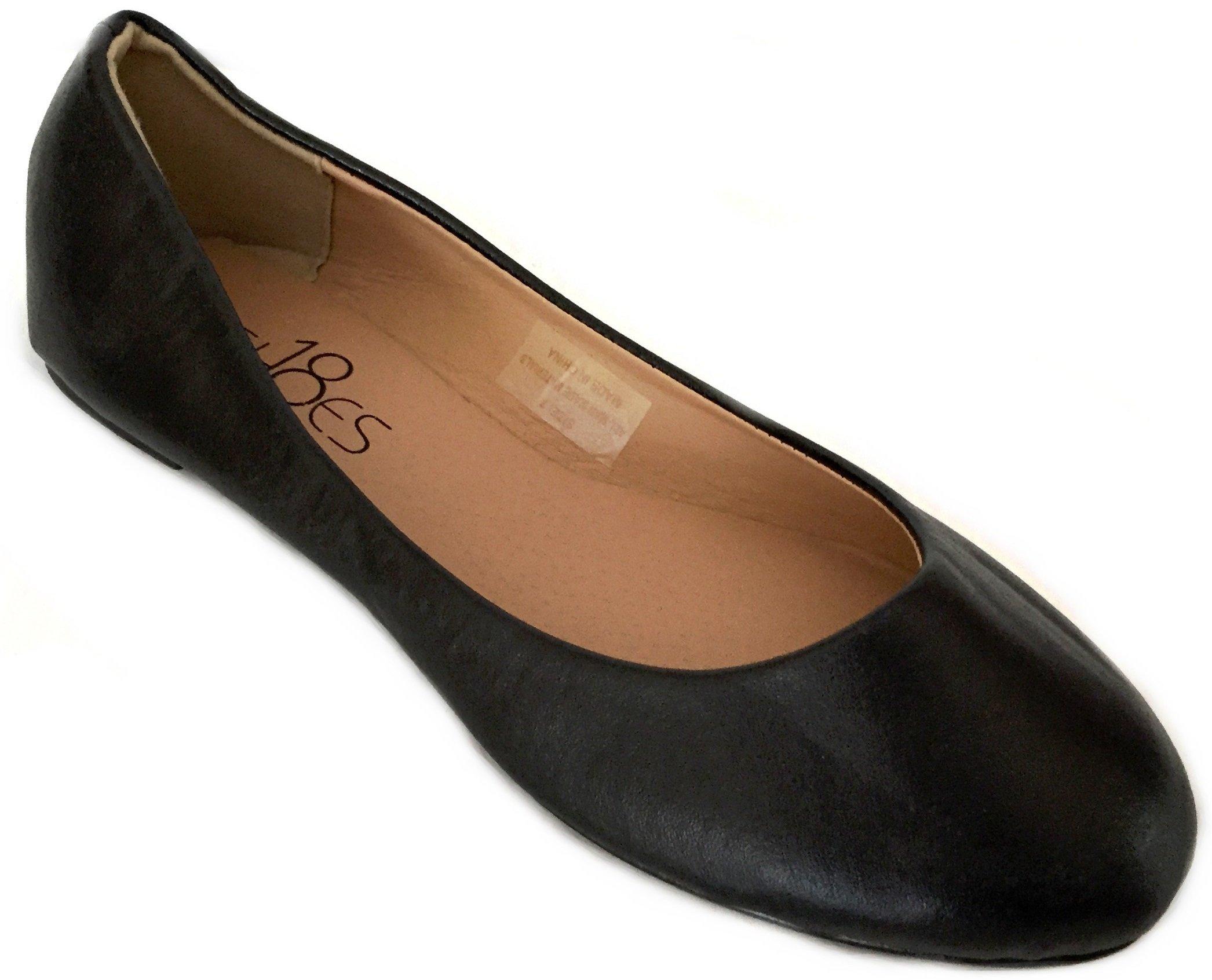 Shoes 18 Womens Ballerina Ballet Flat Shoes Solids & Leopards (11, Black PU 8600)