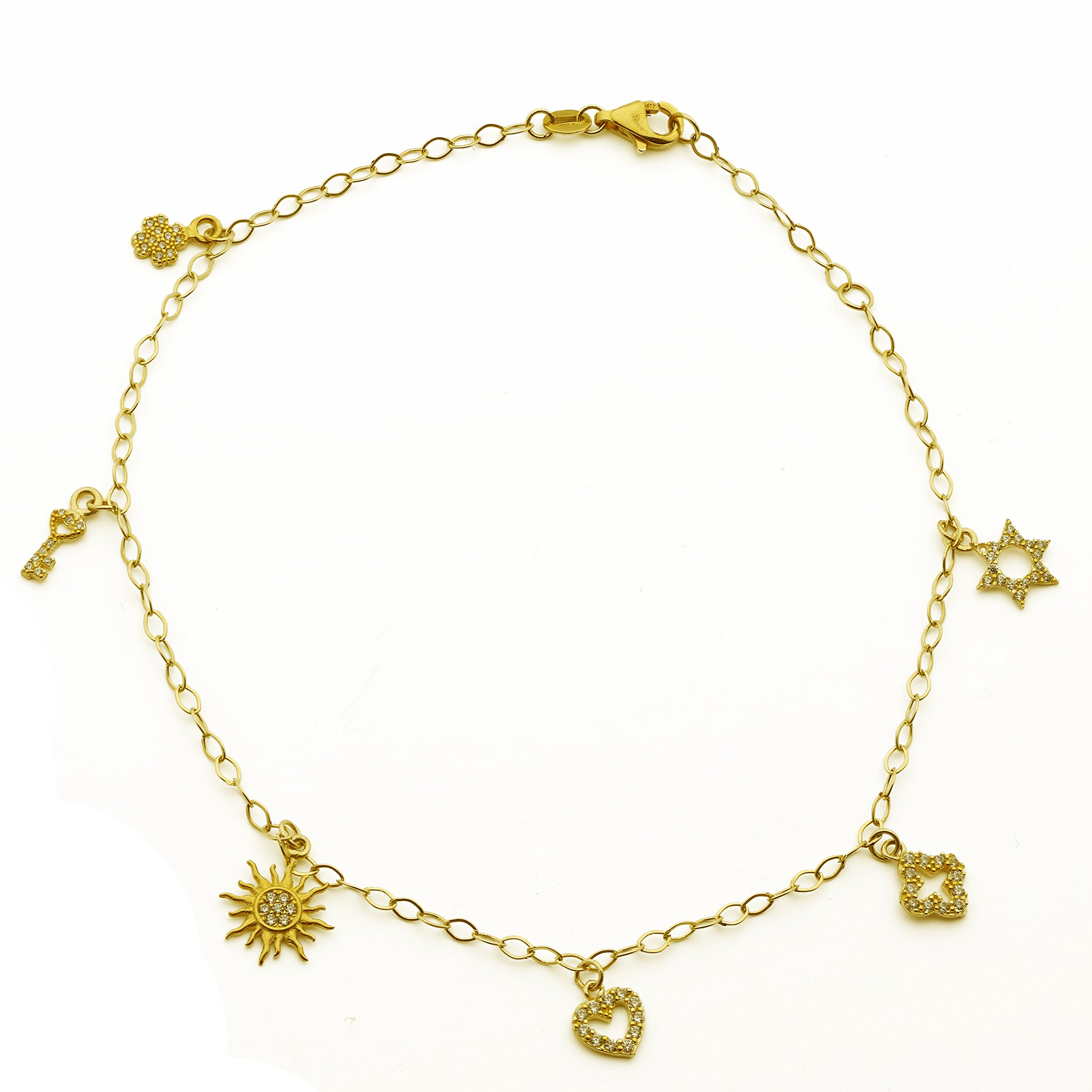 LoveBling 10K Yellow Gold 2mm Diamond Cut Rolo Chain with 6 Charms Anklet Adjustable 9'' to 10 (#36)