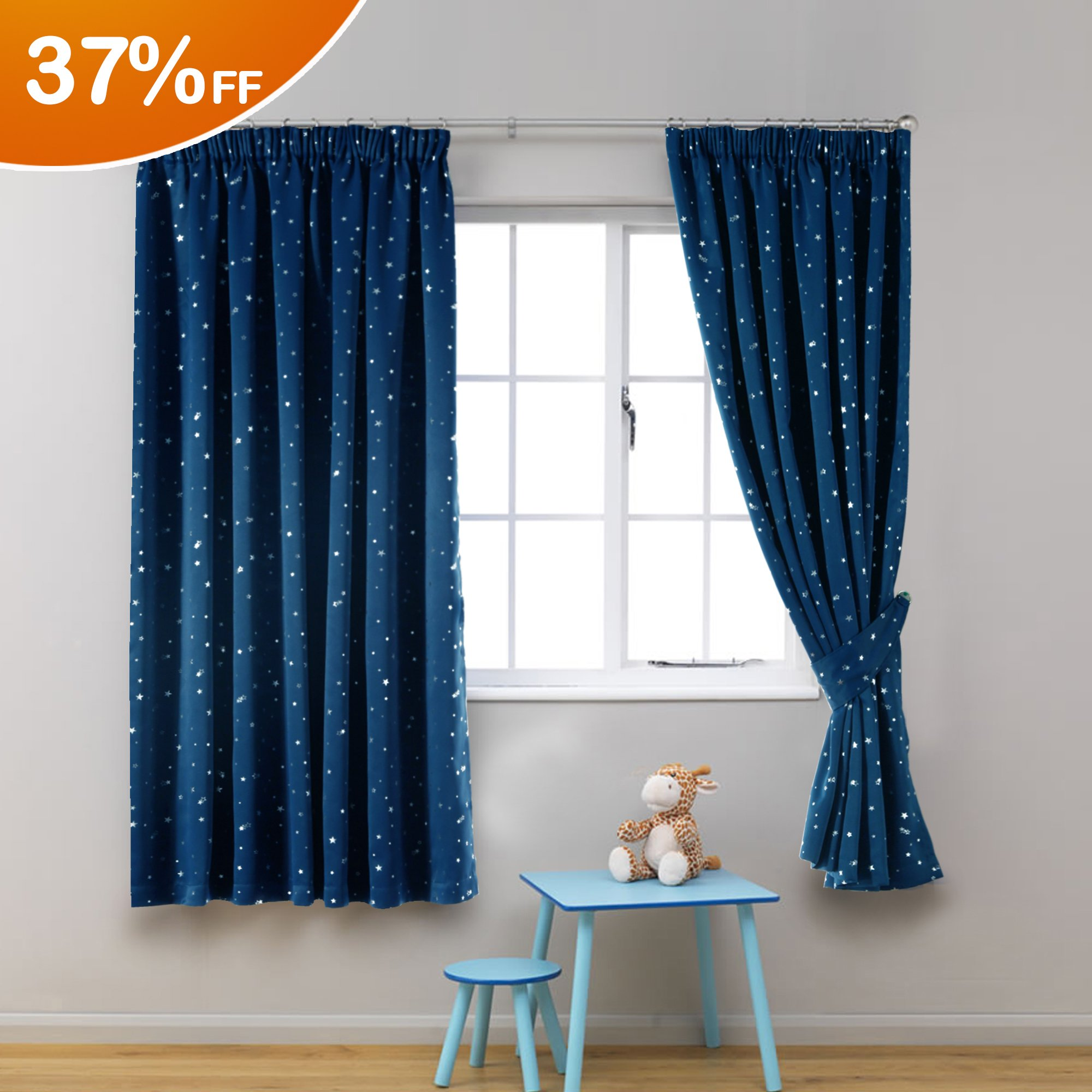 HVersailtex Printed Blackout Pencil Pleat Pair Light Reducing Microfiber Curtains Thermal Insulated