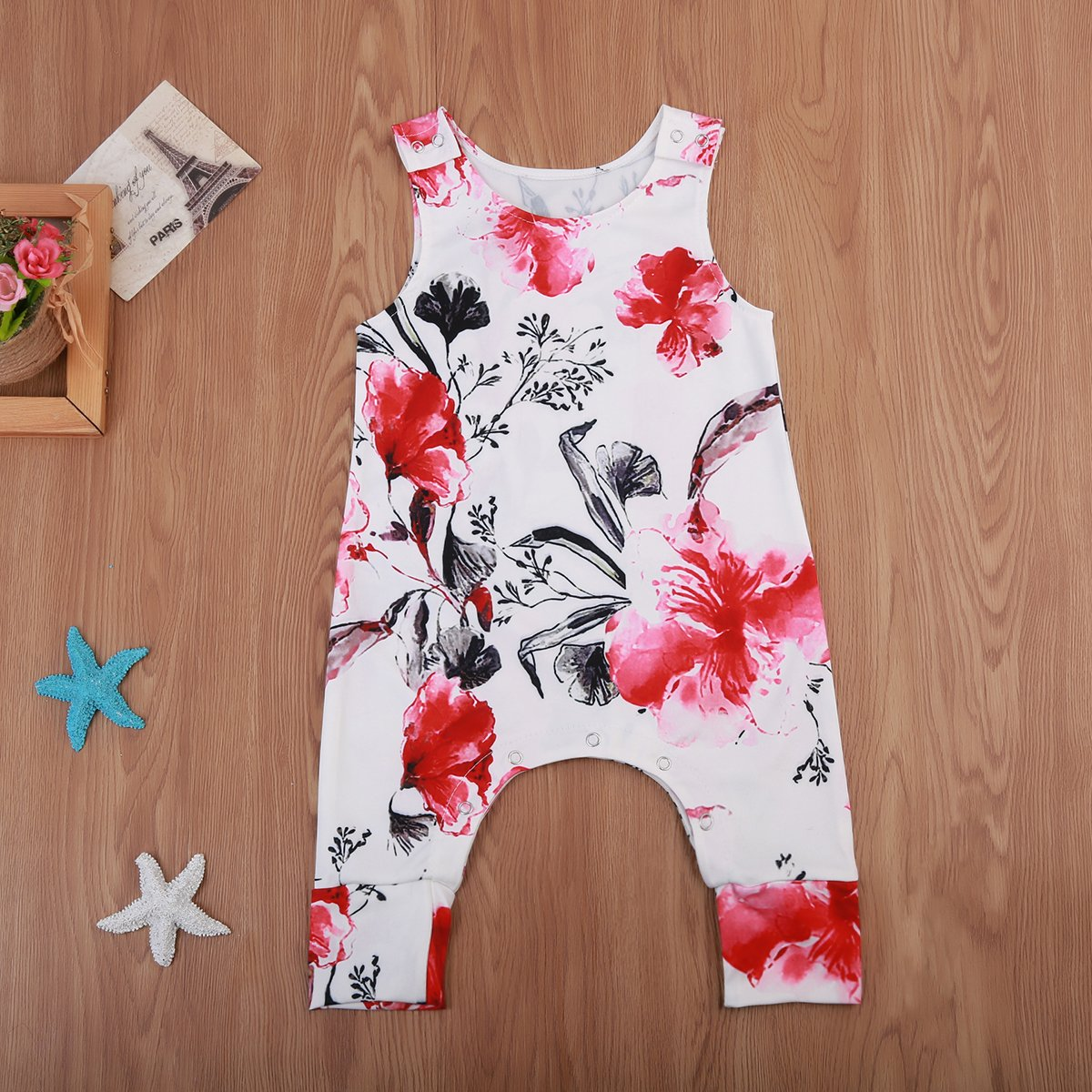 Small/&beautiful Infant Baby Girl Floral Jumpsuit Sleeveless Romper Playsuit One Piece