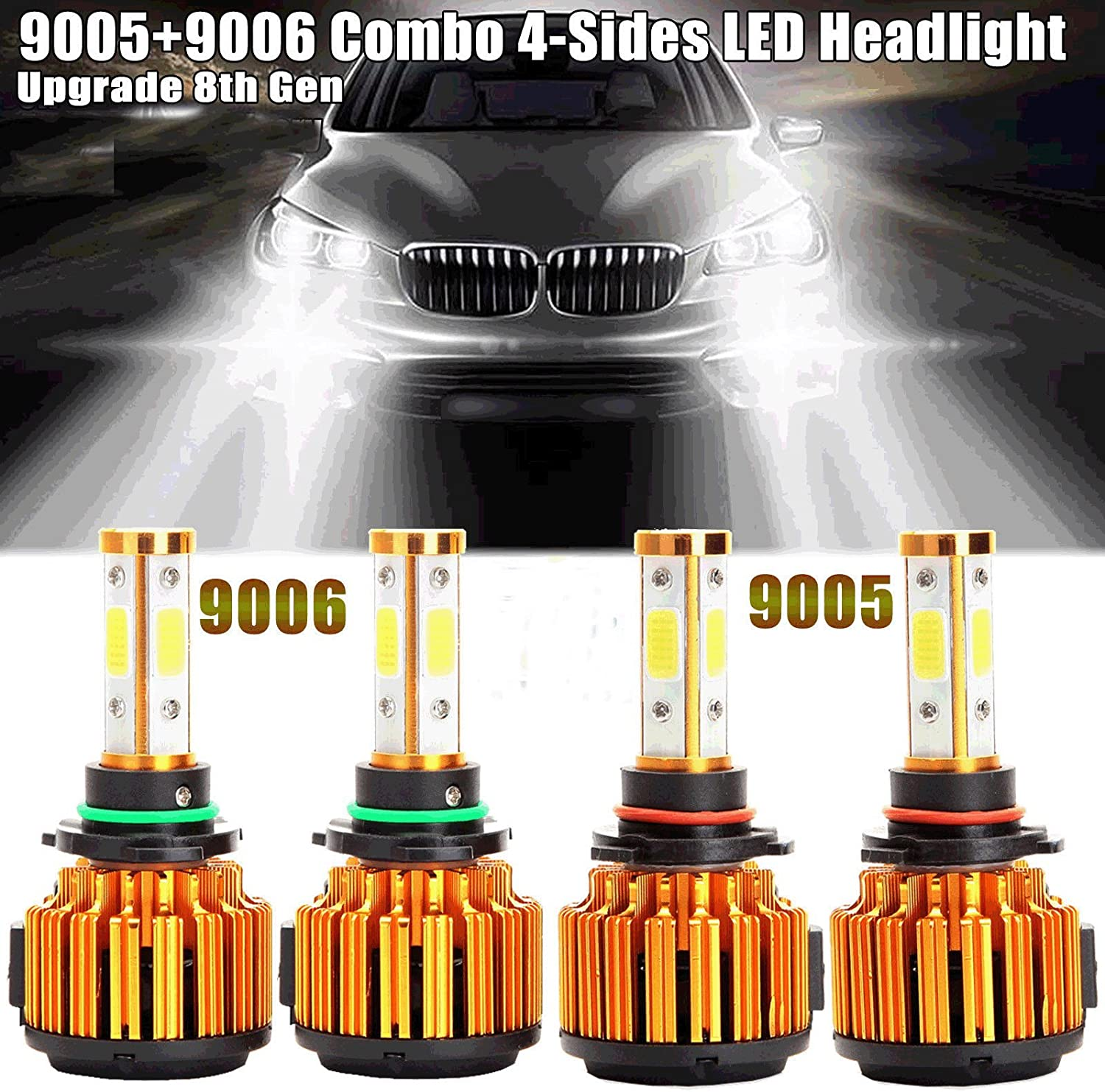 20000LM 4-Side Super Bright 6000K Pure Cool White Plug n Play Head Light Replacement Kit WISWIS 2018 Newest H11 LED Headlight Bulb Low Beam//H9 LED High Beam//H8 LED Fog Light Bulbs
