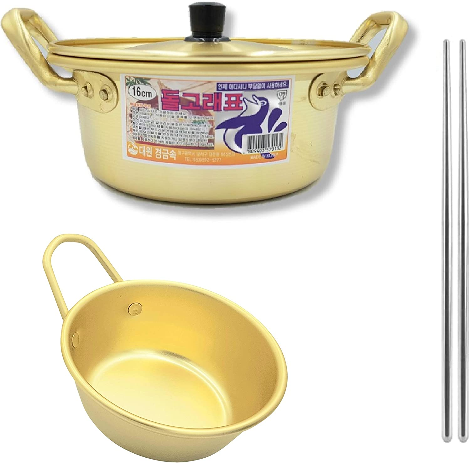 Rapid Noodle Cooker Ramen Noodles Pot 6.3-inch Korean Traditional Wine Bowl 4.3-inch Stainless Chopsticks 1 pair Pack of 3 Made in Korea (Type A)