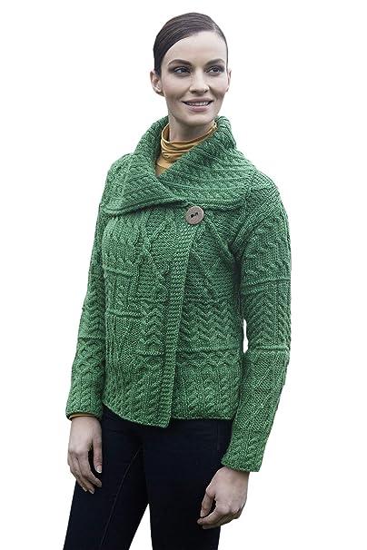 25101176c Ladies Patchwork 1 Button Collar Merino Wool Irish Cardigan