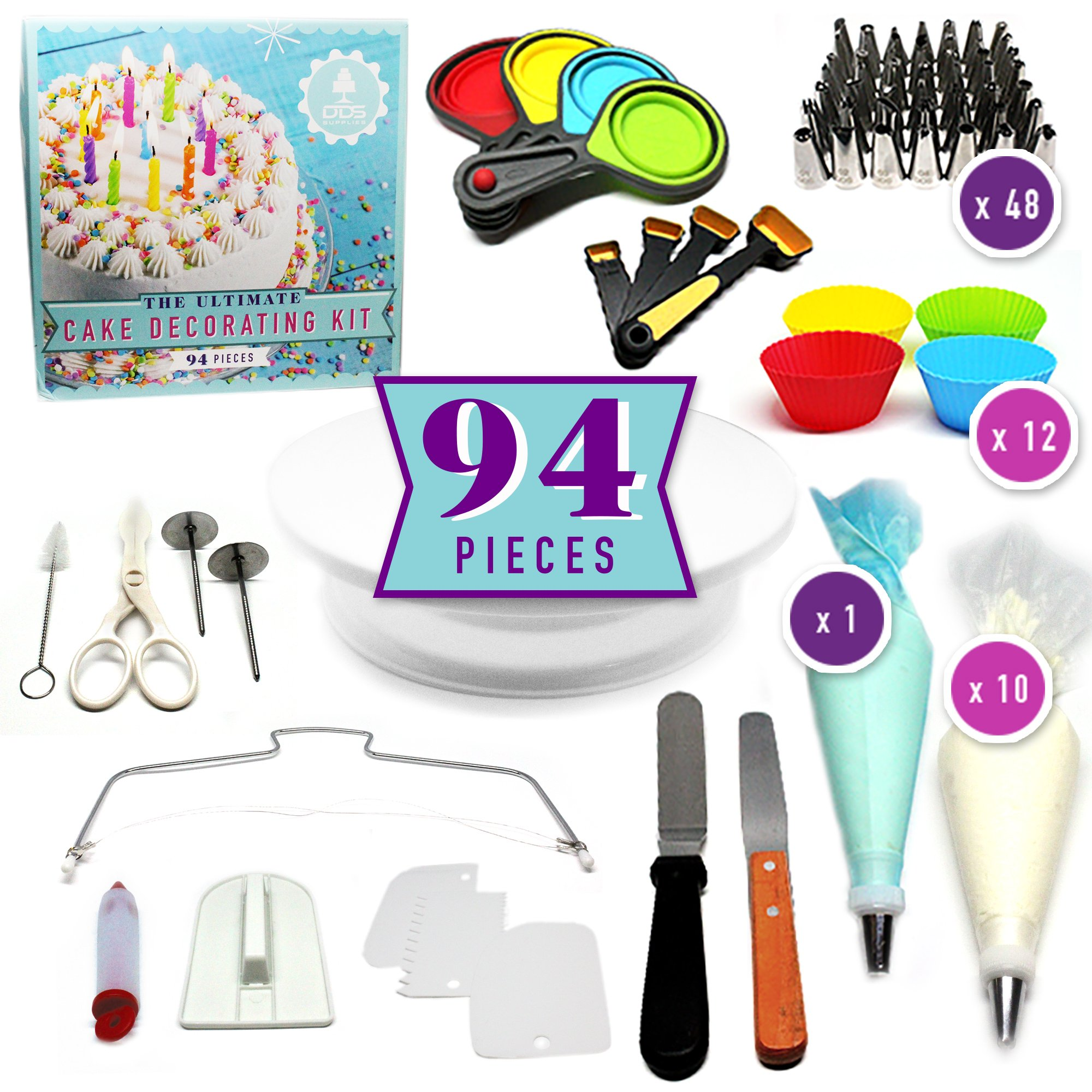 94pc Ultimate Cake Decorating Supplies Kit, Rotating Cake Decorating Turntable, 48 Piping Tips, Piping Bags, Pastry Bags, Cupcake Molds, Icing Smoother, Pastry Tools, Decorating Tools
