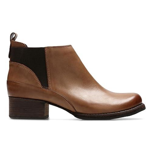 Clarks Monica Pearl Tan Leather Marron - Chaussures Bottine Femme