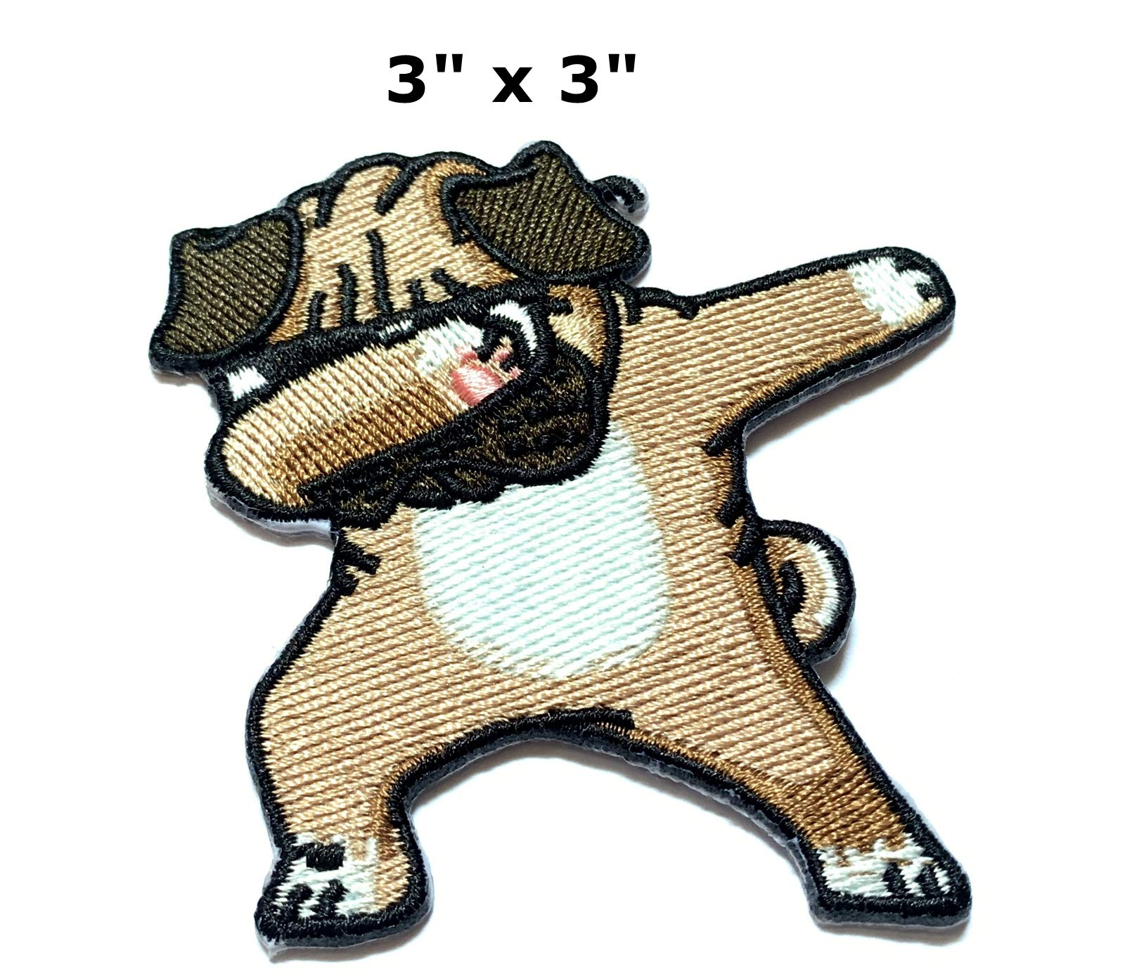 Iron on Patches#27,Dog Patches, Pug Dog Patches, Embroidered Patches, DIY Badge Patches, Appliques and Decorative Patches Clothing Backpacks Jeans T-Shirt Caps Cute Patch by BossBee