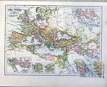 1910 Karten Weltatlas Frankreich Spanien Griechenland Italien