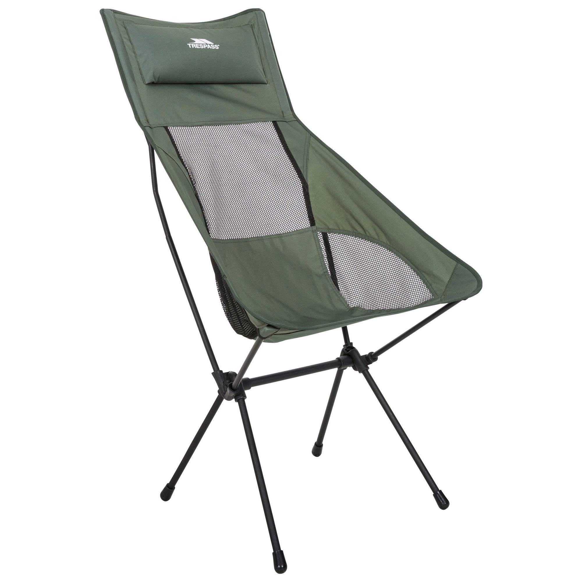 Trespass Roost Tall Lightweight Folding Chair (One Size) (Olive) by Trespass