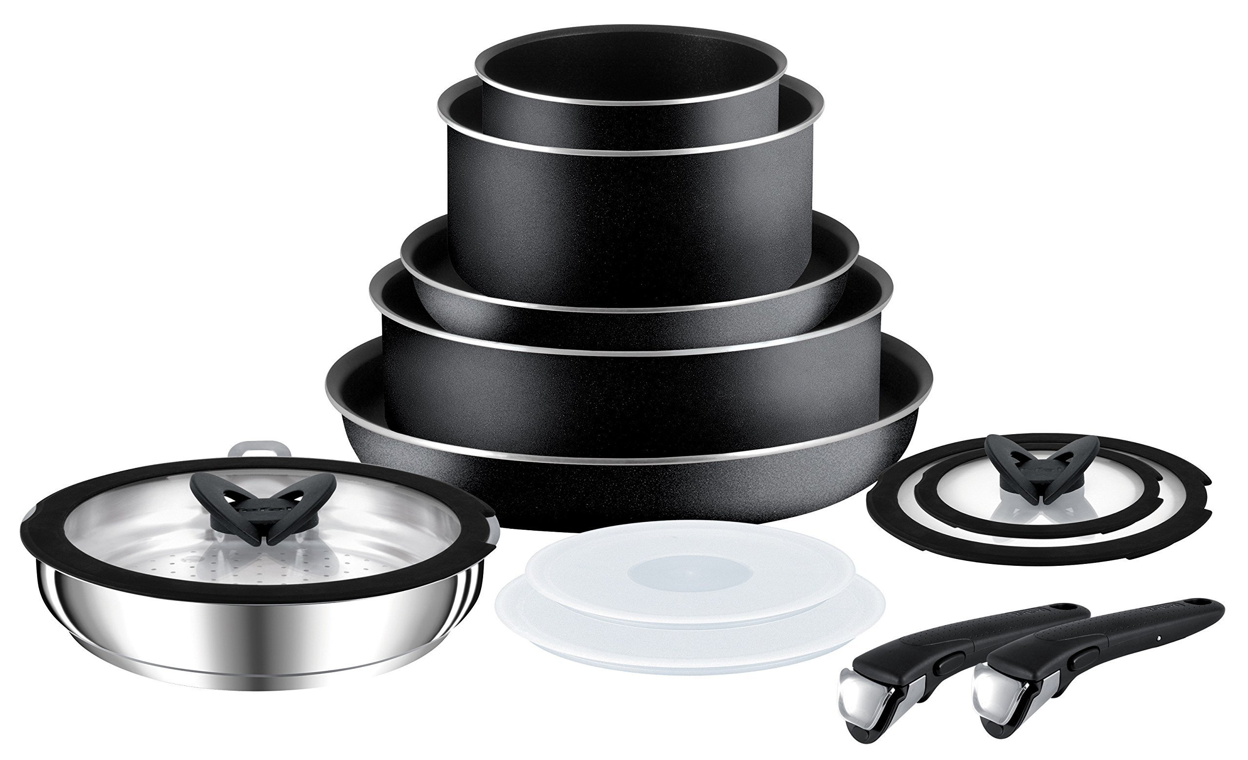 Tefal (T-Fal) 280975 Ingenio Essential Non Stick Cookware Set with Pan Set, 13 Pieces - Black