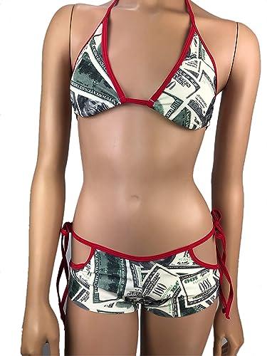 16e7de51423 Exotic Dancewear Triangle Bikini Top Boyshorts Tie Side Scrunch Butt Bottom  Rave Outfits Polefit Hundred Dollar Bill Money Print Booty Short (2 Piece  Set)