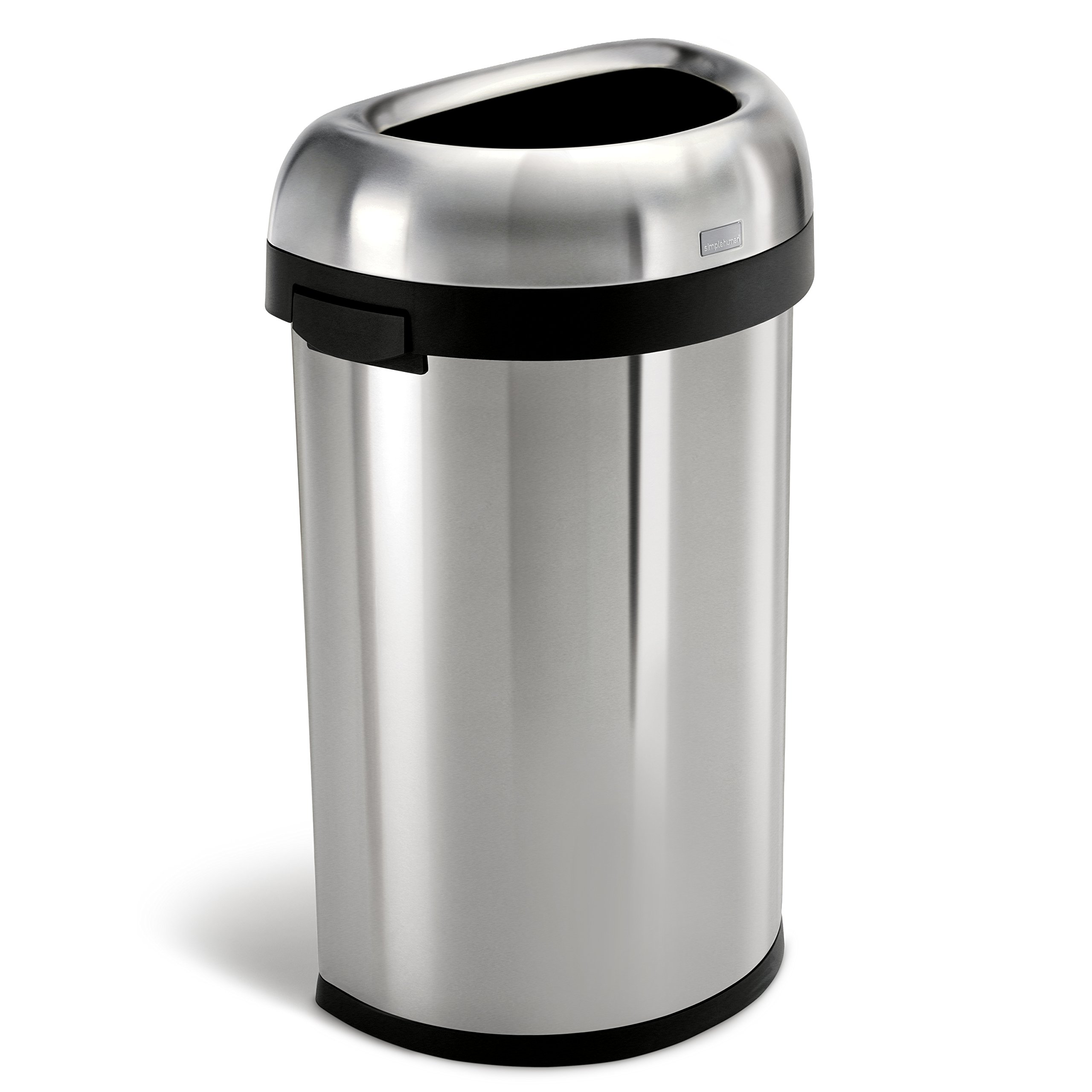 simplehuman Semi-Round Open Trash Can, Commercial Grade, Heavy Gauge Stainless Steel, 60 L / 16 Gal by simplehuman