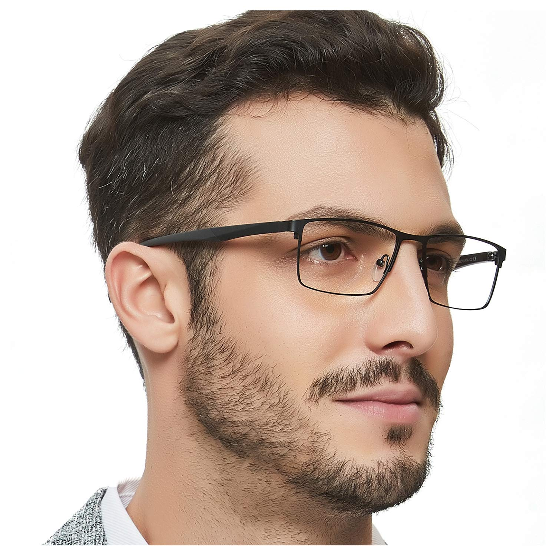 OCCI CHIARI Optical Eyewear Non-prescription Eyeglasses Metal Spring Hinge Rectangle Glasses Frame For Men TR90 (Black)