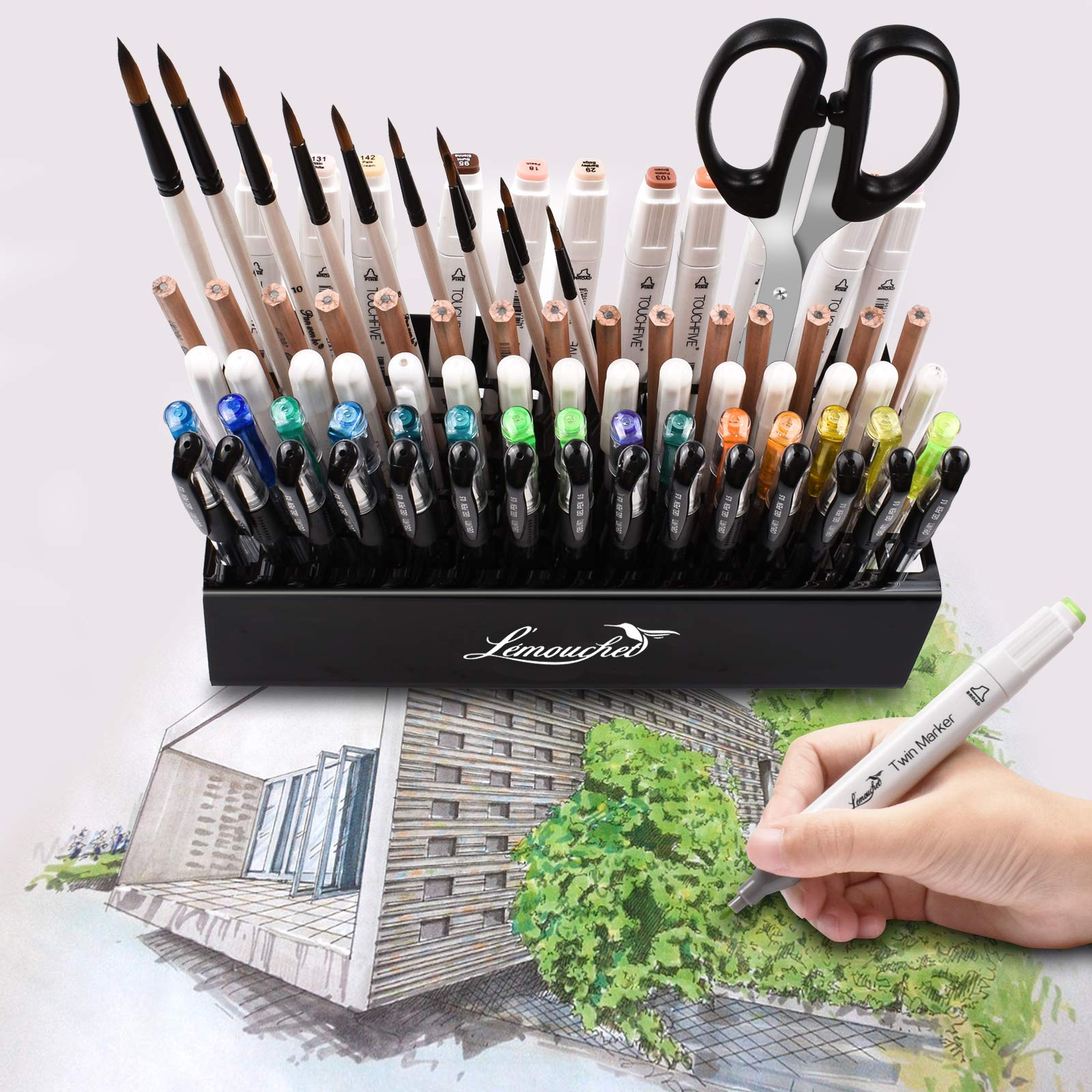 L\'ÉMOUCHET 86 Hole Acrylic Pencil & Brush Pen Holder - Desk Stand Organizer Holder for Pens, Paint Brushes, Crayons Colored Pencils, Sketch Pencils, Tombow Watercolor Brush Pens