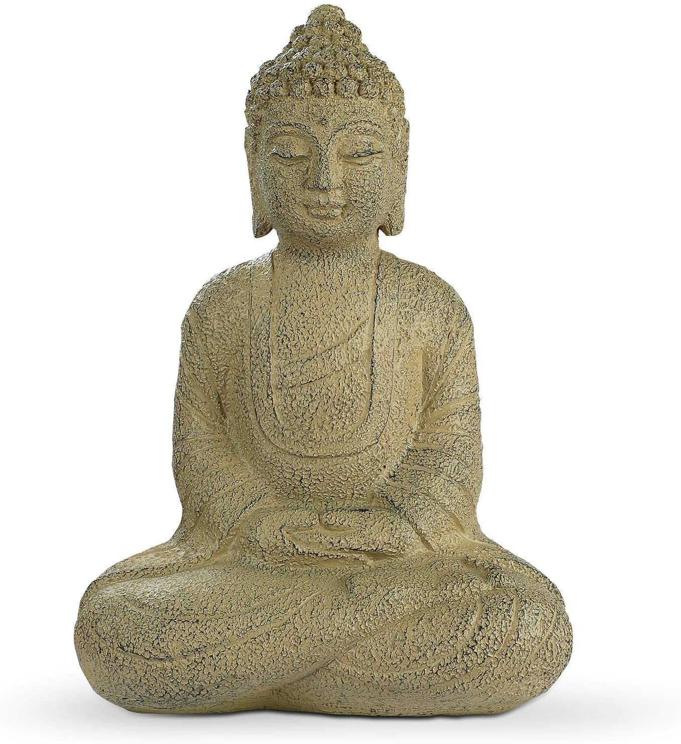 Meditating Buddha Statue, Zen Buddha Figurine in Earth Yellow Finish, Buddha Sculpture for Home & Garden Decorations (14