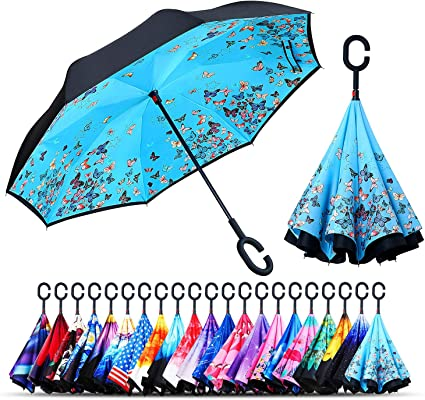 Game Controller Double Layer Windproof UV Protection Reverse Umbrella With C-Shaped Handle Upside-Down Inverted Umbrella For Car Rain Outdoor