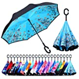 Owen Kyne Windproof Double Layer Folding Inverted Umbrella, Self Stand Upside-Down Rain Protection Car Reverse Umbrellas…