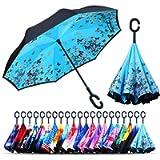 Owen Kyne Windproof Double Layer Folding Inverted Umbrella, Self Stand Upside-Down Rain Protection Car Reverse Umbrellas…