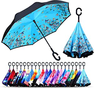 Colorful Piano Keyboard With G-Clef Double Layer Windproof UV Protection Reverse Umbrella With C-Shaped Handle Upside-Down Inverted Umbrella For Car Rain Outdoor